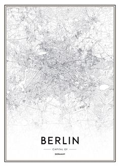 Poster with a black and white map of Berlin Poster with a map of Berlin Poster with a nice map of Berlin. A black and white poster with a map of a popular city. Poster Shop, City Map Poster, Poster Poster, Map Posters, Black And White Posters, Black And White Wallpaper, Berlin Berlin, Map Wall Decor, Berlin
