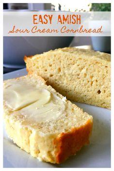Easy Amish Sour Cream Cornbread - Sweet Little Bluebird Cream Corn Bread, Sour Cream Cornbread, Best Cornbread Recipe, Sweet Cornbread, Cornbread Recipe From Scratch, Creamed Corn Cornbread, Sour Cream Scones, Sour Cream Biscuits, Sour Cream Cookies