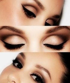 Classic eye makeup, gorgeous shadow and liner. I'd love to see a red lip with this!