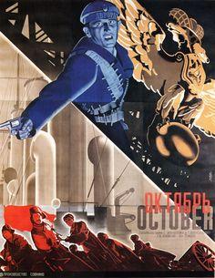 """Poster for Sergei Eisenstein's """"October"""", 1927 by Stenberg bros."""