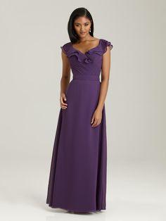 80180c5761 Allure 1304 Deep V Long Chiffon Bridesmaid Dress