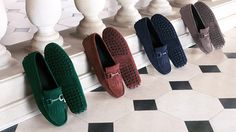 Tod's Women's Autumn Winter 2013-2014 Collection. Suede #Gommino #moccasins with saddlery inspired hardware, lacquered to match the vamp.