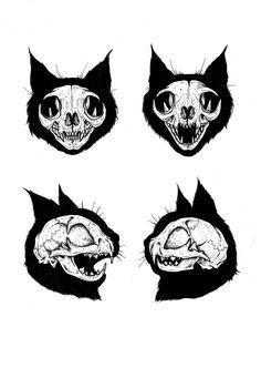 Animal Skeletons, Animal Skulls, Tattoo Sketches, Tattoo Drawings, Tattoos, Dark Tattoo, Goth Art, Cat Drawing, Skull Art