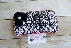 Pink and Black Damask with Rolled Black by LauraLeeDesigns108