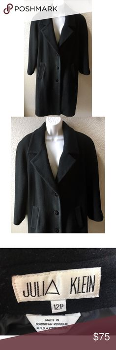 ❤️💕Vintage black wool coat 💕❤️ Vintage classic black full length, double-breasted, fully lined Julia Klein wool coat. Two deep front slip pockets, back vent stitching & extra button intact. Excellent vintage condition, no pilling. This coat has been dry cleaned & is ready to wear. Julia Klein Jackets & Coats