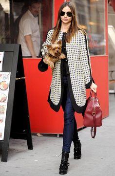 Miranda Kerr with a stylish Marni coat