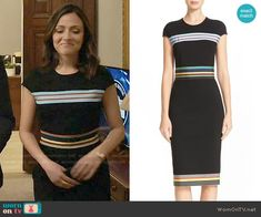Emily's black dress with multi-colored stripes on Designated Survivor. Outfit Details: https://wornontv.net/69294/ #DesignatedSurvivor