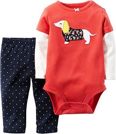 Carters Baby Girls 2 Piece Applique Bodysuit  Pants Set 6 Months Red -- You can find more details by visiting the image link.