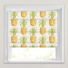 Green and Yellow Roman Shade, Golden Yellow, Green & White Pineapple Patterned Roman Blinds