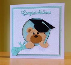 Graduation Card - Cottage Cutz Bear Die & Mortar Board Die. To purchase my cards please visit CraftyCardStudio on Etsy.com. Graduation Bear, Graduation Cards, Handmade Birthday Cards, Greeting Cards Handmade, Bear Card, Marianne Design, Cards Diy, New Crafts, Tole Painting