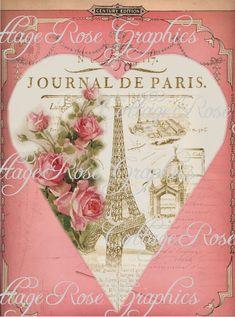 Paris Journal vintage Valentine Large por CottageRoseGraphics, $3.75