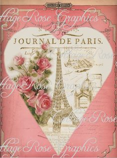 Paris Journal vintage Valentine Large por CottageRoseGraphics, $3.75