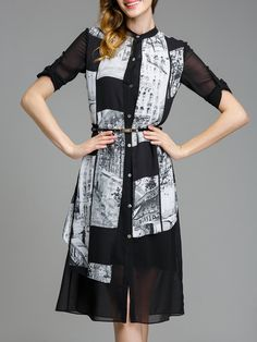 Black Printed H-line Long Sleeve Stand Collar Chiffon Midi Dress - AdoreWe.com
