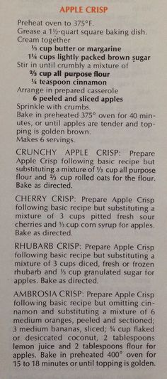 This is Mom's recipe, from the Purity Cookbook, for apple, or rhubarb crisp. She doubled the crumble and used 3/4 of that on top, freezing the rest for the next batch.