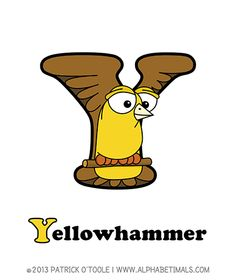 Yellowhammer - Alphabetimals make learning the ABC's easier and more fun! http://www.alphabetimals.com