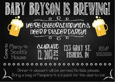 Digital Chalkboard Style Diapers and Beer Baby Shower Party Invitation DIY Printable on Etsy, $10.00