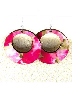 New to JDBmercantile on Etsy: Floral Hoop Earrings -Mod Lightweight Wood Earrings Circle Flower Print Geometric Wooden Earrings  [EA-BF042] (15.00 USD)