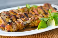Grilled Thai Curry Chicken Skewers with Coconut-Peanut Sauce l Once Upon A Chef