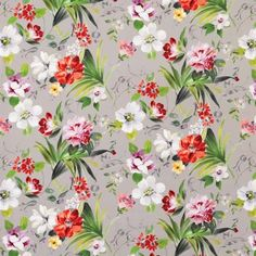 Rosslyn Fabric A painterly floral fabric with an informal array of flowers and foliage in reds, pinks and greens on a grey background.
