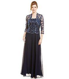 Cachet Sequin Lace Coverlet Jacket Dress Gown