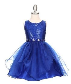 Royal Blue Beautiful Gold Coiled Embroidered Flower Girl Dress (Size 2 to 14 in 5 Colors)
