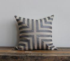 Metallic silver & natural handprinted organic hemp pillow cover 20x20. $70.00 | melongings etsy