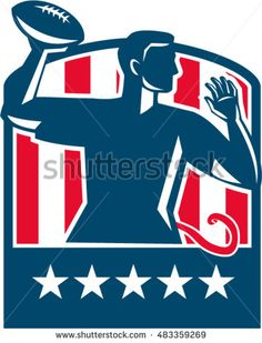 Illustration of a flag football player QB passing ball viewed from the side set inside shield crest with usa american stars and stripes flag in the background done in retro style. #football #retro #illustration
