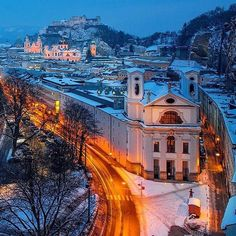 Insta / daydreamplaces: Beautiful shot of Salzburg Austria with a layer of snow Photo by @ilhan1077  Via @beautifuldestinations