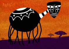 Anansi the Spider by Bahar Kara, via Behance - one of the most important characters of West African and Caribbean folklore.