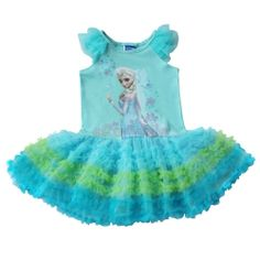 Girl Baby Frozen Elsa Princess Cake Tutu Dress Kid Short Sleeve Skirt Cosplay 2T