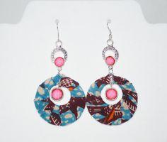 African  Fabric Pink Chandelier Earrings Ankara by ZabbaDesigns, $10.00