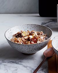 Steel-cut oats are whole-grain oats that are simply chopped, so they're super-nutritious and have a great chew. Chef Marco Canora likes to simmer them in whole milk and almond milk with sweet spices for a breakfast with staying power.  Slideshow: More Whole-Grain Breakfasts