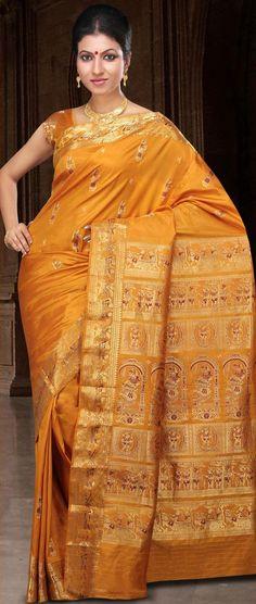 Mustard Bengal Handloom Saurnarchuri #Silk #Saree With #Blouse @ US $200.84