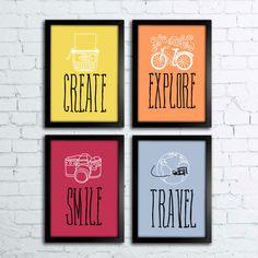 Conjunto de Quadros Create Explore Smile Travel — www.encadreeposters.com.br