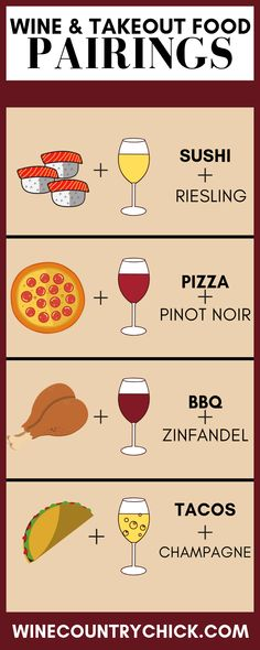 Mouth-Watering Wine & Take Out Food Pairings for your next night in - Wine Country Chick # Food and Drink pairing cheat sheets Wine Tasting Party, Wine Parties, Wheat Berry Salad, Wine Guide, Wine Night, Cheese Party, Wine And Beer, Box Wine, Wine Cheese