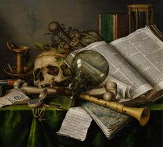Vanitas - Still Life with Books and Manuscripts and a Skull - Edwaert Collier - Google Cultural Institute