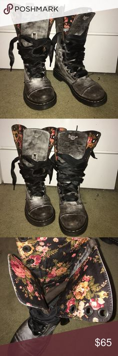 Dr. Marten floral lined combat boots Dr. Marten gray distressed combat boots with floral lining and black satin lace laces, very lightly worn. Dr. Martens Shoes Lace Up Boots