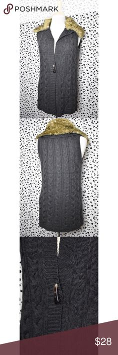 NWT The Limited Faux Fur Cable Knit Sweater Vest Layer this gorgeous piece over your favorite long sleeve blouse or over a dress! Dress it up or down! The collar is removable! If you have any questions please feel free to ask! xoxo Lost Treasures Resale 💕  *Measurements are available upon request* The Limited Sweaters