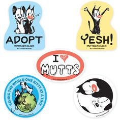 """MUTTS Jumbo Car Magnets (Muttscomics) (Put your love for MUTTS - and shelter animals everywhere - on display with this set of five jumbo magnets! Manufactured in the U.S.A. and printed directly on the magnetic material. These magnets work just as great on cars as they do on fridges, filing cabinets, or anything made of metal! Each is generously sized to turn heads and stop traffic: Round – 5 7/8"""" in diameter, Oval – 5 7/8"""" x 4"""", Mooch and Earl – approximately 5"""" x 6"""".)"""