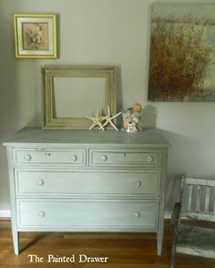 Shop Dressers and Chests   The Painted DrawerBeach Glass Dresser, $380, (SOLD) This is a beautiful dresser that has been finished in the hues of blue and green, distressed and waxed for a smooth, durable finish.  The piece is a real vintage find that is solidly built.  The drawers are very deep for storage, open and close easily and have gorgeous glass pulls for sparkle.