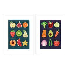 TVILLING Bild 2 St., Obst und Gemüse