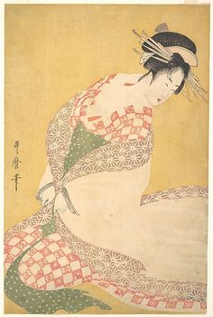 The Outer Robe  Kitagawa Utamaro  (Japanese, 1753–1806)  Period: Edo period (1615–1868) Date: ca. 1795 Culture: Japan Medium: Polychrome woodblock print; ink and color on paper
