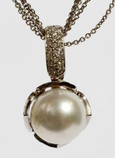 NATURAL SOUTH SEA PEARL & .50CT DIAMOND NECKLACE : Lot 11021