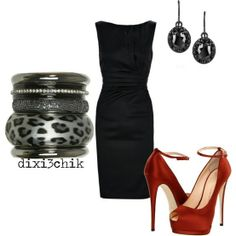Sexy black dress that's still appropriate for work functions. Choose red shoes without straps around the ankles to elongate the legs.