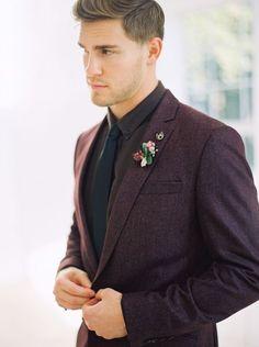 Purple Rustic Bohemian Wedding Shoot Handsome Groom in a Plum Tweed Suit Wedding Groom, Wedding Men, Wedding Suits, Wedding Attire, Fall Wedding, Tweed Wedding, Wedding Dresses, Groom Wear, Groom Outfit
