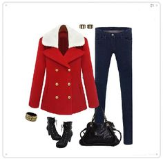 Red Fashion Double-breasted Fur Collar Short Coat