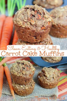 Healthy Carrot Cake Muffins - Clean Eating Carrot Cake Muffins with Applesauce. Easy, simple muffin recipe with mashed banana, coconut oil, applesauce and honey. The best moist muffin that's the perfect healthy recipe for Easter, spring or any season. Vegetarian. / Running in a Skirt #vegetarian #healthy #baking #carrotcake #cleaneating #easter #recipe Healthy Carrot Cakes, Carrot Recipes, Coconut Recipes, Healthy Muffins, Muffin Recipes, Healthy Treats, Bread Recipes, Baking Recipes, Healthy Recipes