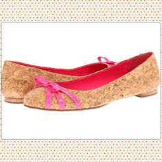 Kate Spade Tiny cork ballet shoes never worn pink Cork Ballet Flats  LIPSTICK PINK  Made from natural cork and lipstick pink patent leather bow at front.  Round toe, slip on easy and feminine.   Be stylish.    Condition: These were a customer try on or display shoe and may have signs of being handled in store sticker residue on sole and inside footbed kate spade Shoes Flats & Loafers