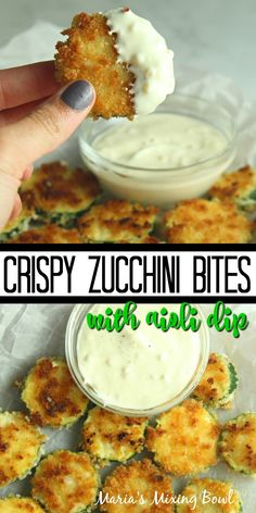 Crispy Zucchini Bites with Aioli Dip are so crunchy good! Crusted in panko breadcrumbs and fried until golden and crispy, you will love these tasty bites. appetizers veggie Crispy Zucchini Bites with Aioli Dip Zuchinni Recipes, Veggie Recipes, Appetizer Recipes, Vegetarian Recipes, Dinner Recipes, Cooking Recipes, Healthy Recipes, Califlour Recipes, Breakfast Recipes