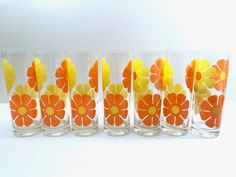 Colony Signed Retro Yellow and Orange Daisy Flower Power Tall Collins Glasses (Set of Vintage Dishware, Vintage Kitchen, Collins Glass, Vintage Storage, Mid Century Design, Orange, Yellow, Retro, Flower Power